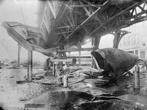 Crushed girders of the elevated railway