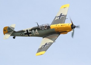 Restored Bf-109E with Swastika on Tail