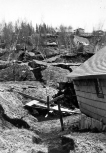 Damage to houses from landslides in Turnagain Heights in Anchorage