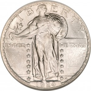 Redesigned Standing Liberty quarter with chain-mail vest.