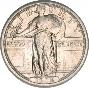 Original Standing Liberty quarter with breast exposed.